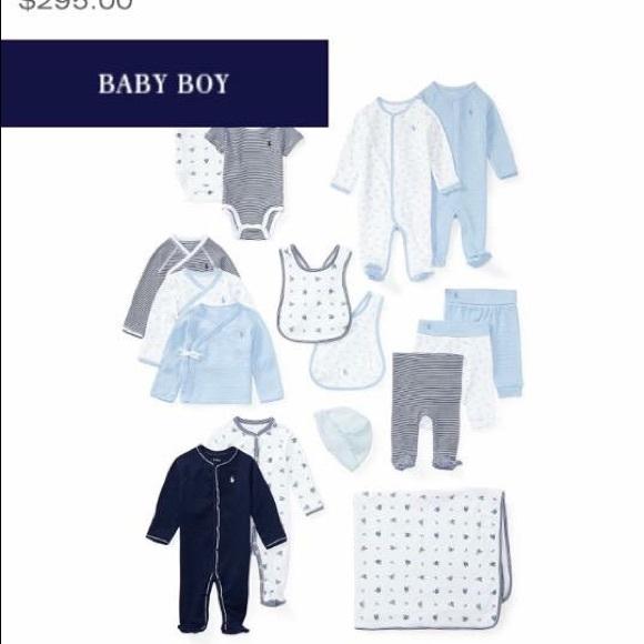 c9b7ca66 Ralph Lauren Baby Boy 16Pc Gift Box Set Pearl Blue NWT